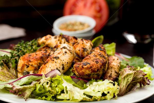 鶏の胸肉 サラダ 新鮮な トマト 食べる バーベキュー ストックフォト © Moradoheath
