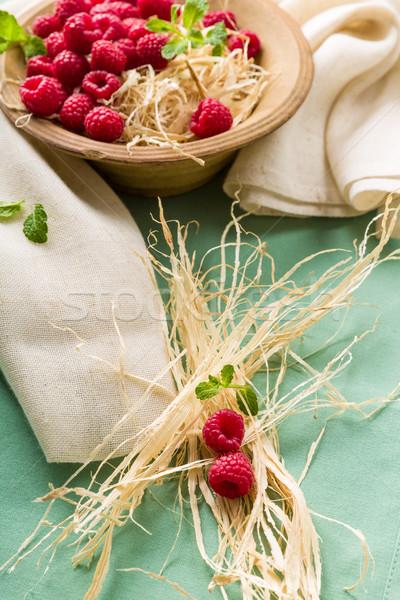 ラズベリー ボウル 新鮮な ミント 食品 光 ストックフォト © Moradoheath