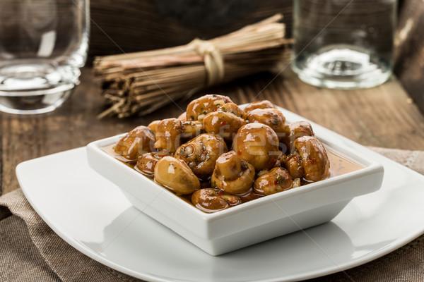 前菜 キノコ 新鮮な ハーブ 油 調理 ストックフォト © Moradoheath