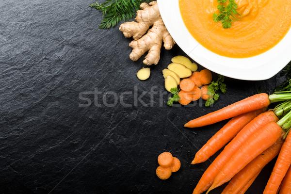 морковь имбирь суп свежие Ингредиенты кухне Сток-фото © Moradoheath