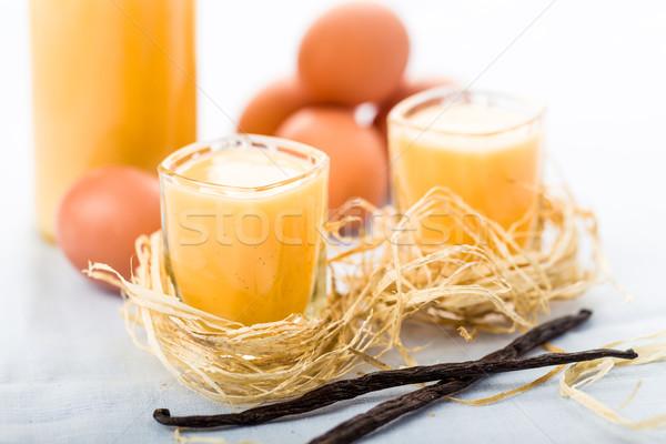 Foto d'archivio: Uovo · liquore · occhiali · fresche · vaniglia · uova
