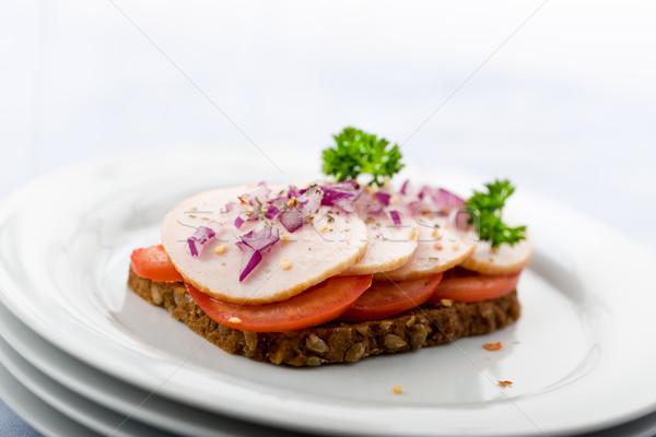 Csirkemell kenyér friss szendvics balzsam homály Stock fotó © Moradoheath