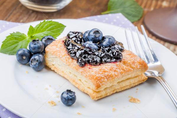 Stockfoto: Gebak · bosbessen · vers · mint · dessert · macro
