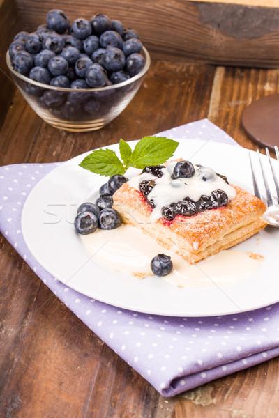 Bleuets vanille sauce menthe dessert Photo stock © Moradoheath