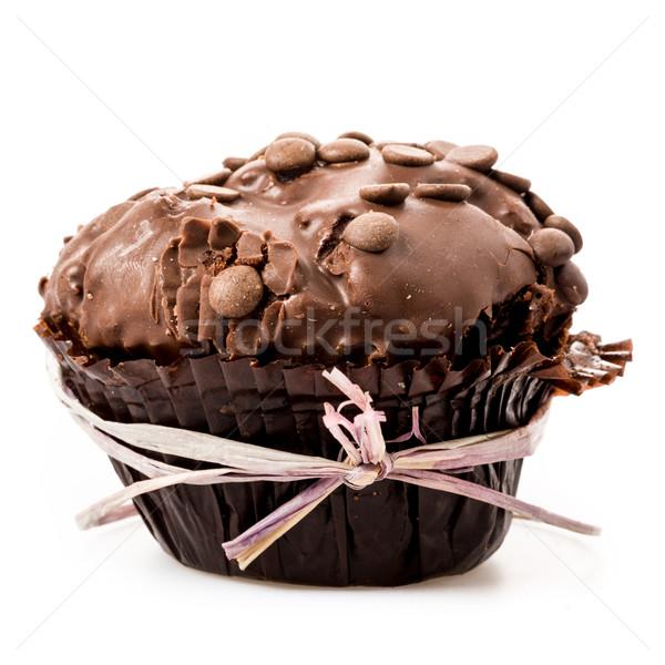 Csokoládé muffin izolált fehér születésnap desszert Stock fotó © Moradoheath