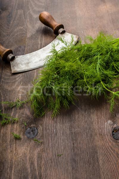 Fraîches bois surface cuisine vert salade Photo stock © Moradoheath