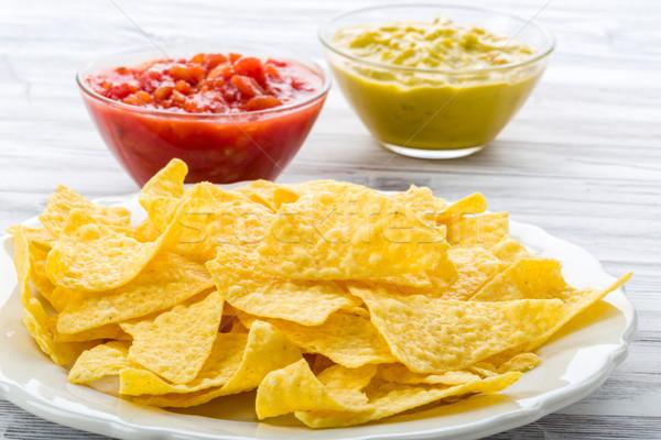 Tortilla puces salsa maïs manger légumes Photo stock © Moradoheath