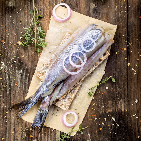 新鮮な 木製 玉葱 水 木材 魚 ストックフォト © Moradoheath