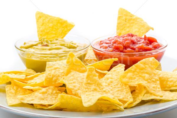 плоская маисовая лепешка чипов Сальса кукурузы еды растительное Сток-фото © Moradoheath