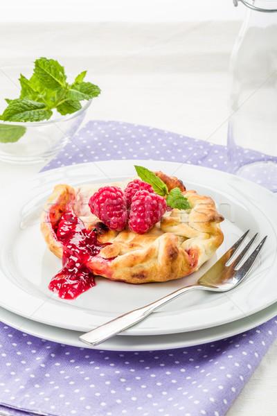 ペストリー ラズベリー 新鮮な ミント デザート 食べる ストックフォト © Moradoheath