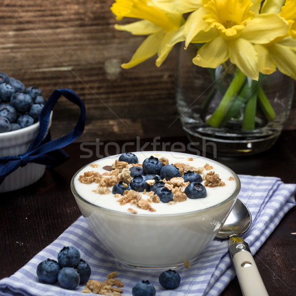 Blueberry yoghurt with muesli Stock photo © Moradoheath