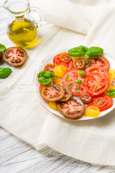 Stockfoto: Kleurrijk · tomaat · salade · basilicum · groene · Geel