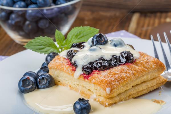Stockfoto: Gebak · bosbessen · vanille · saus · mint · dessert