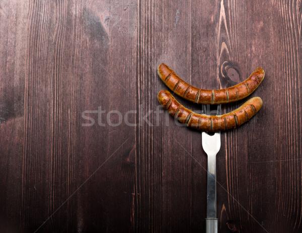 Frit saucisse fourche rouille herbes grill Photo stock © Moradoheath