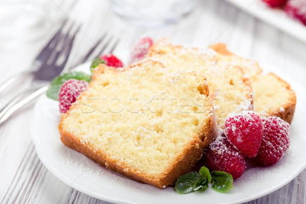 Cake frambozen mint bladeren poedersuiker verjaardag Stockfoto © Moradoheath