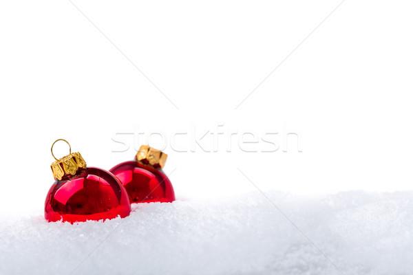Christmas decoraties Rood hout sneeuw Stockfoto © Moradoheath