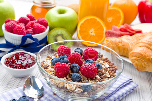 Stockfoto: Müsli · vers · fruit · ontbijt · tabel · vruchten · gezondheid