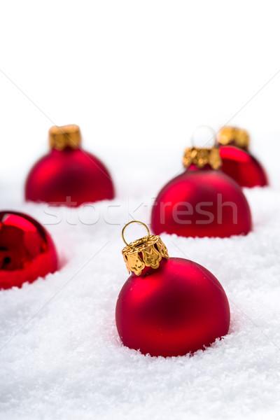 クリスマス 装飾 赤 木材 雪 ストックフォト © Moradoheath