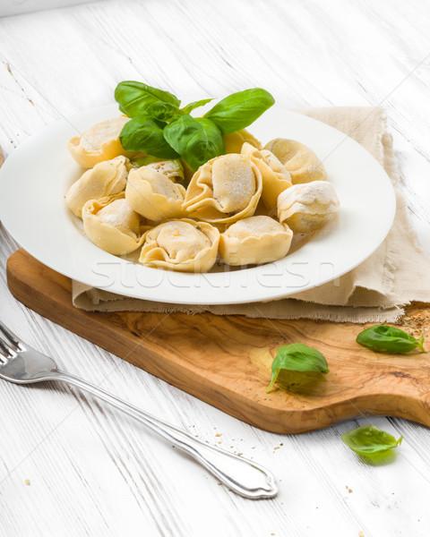 Preparado tortellini cozinha verde amarelo Foto stock © Moradoheath