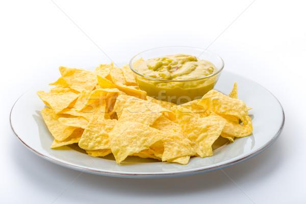 Tortilla batatas fritas salsa milho alimentação vegetal Foto stock © Moradoheath