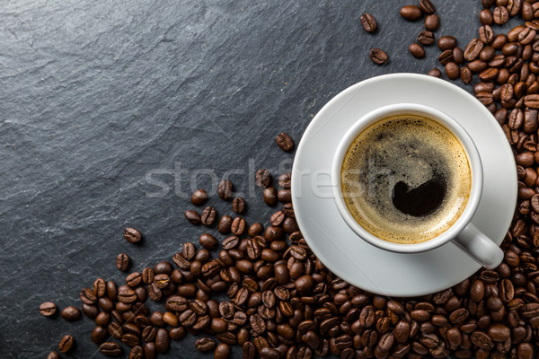 Koffiebonen donkere drinken ontbijt beker hot Stockfoto © Moradoheath
