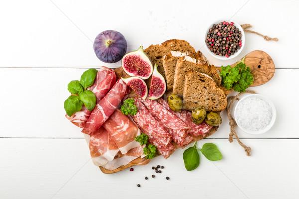 Italian antipasti sausage with figs Stock photo © Moradoheath