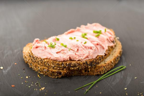 Thee worst vers brood bieslook vlees Stockfoto © Moradoheath