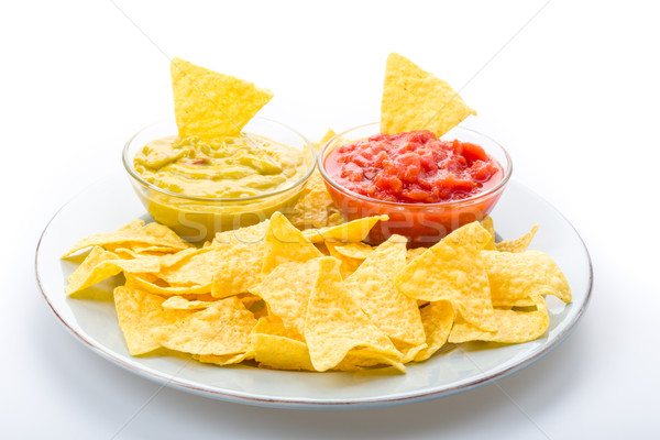 Tortilla chips salsa maíz comer vegetales Foto stock © Moradoheath