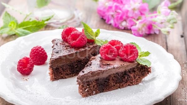 ラズベリー チョコレート デザート 木製 地下 フルーツ ストックフォト © Moradoheath