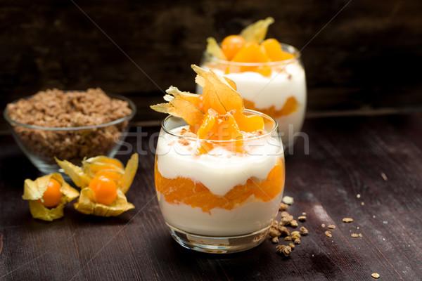 Yogurt with mandarin oranges Stock photo © Moradoheath
