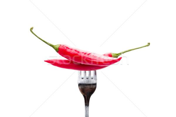 Peperoni hot vork witte Rood peper Stockfoto © Moradoheath