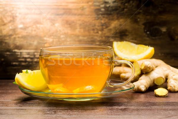 Gengibre chá de verde limão Foto stock © Moradoheath