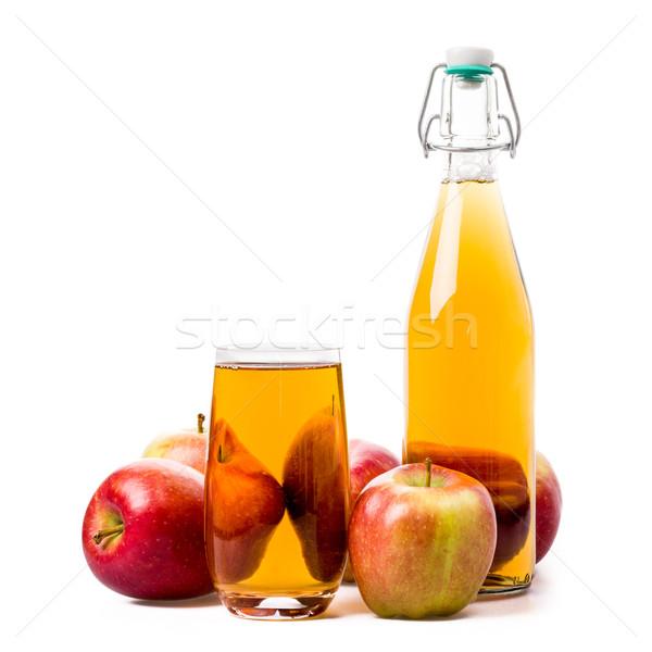 Almalé almák dzsúz üveg izolált alma Stock fotó © Moradoheath