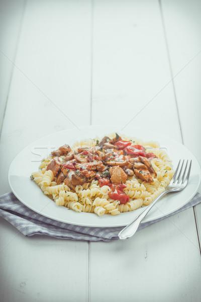 Sliced turkey with mushrooms and tomatoes Stock photo © Moradoheath