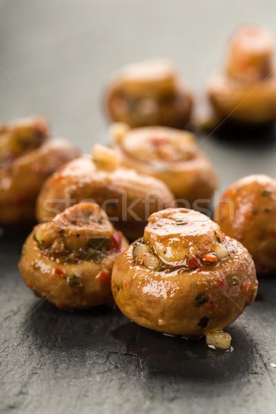 Antipasti gombák friss gyógynövények olaj szakács Stock fotó © Moradoheath