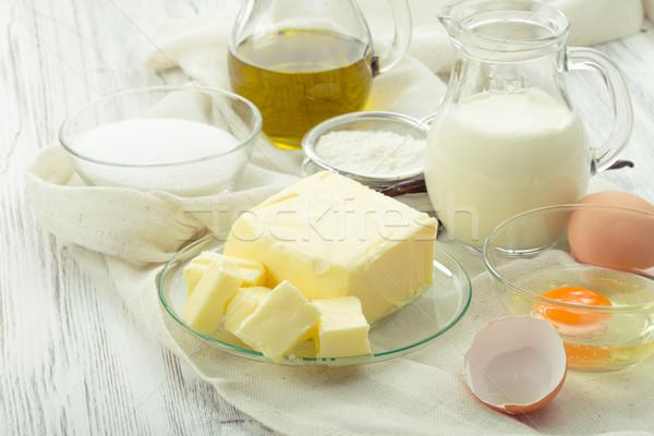 Zutaten Eier Mehl Zucker Butter Stock foto © Moradoheath