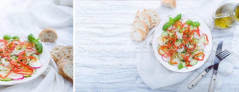 Stock photo: Fresh spring salad with cucumber, radish
