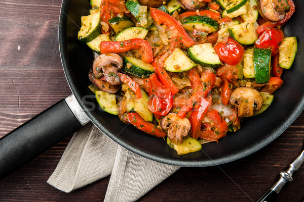Fried vegetables with fresh vegetables without meat Stock photo © Moradoheath