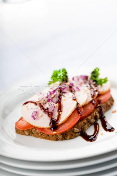 куриная грудка хлеб свежие сэндвич Blur Сток-фото © Moradoheath