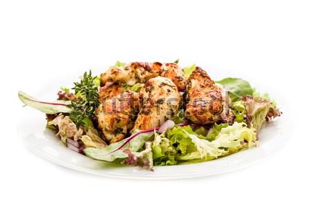 Pechuga de pollo ensalada frescos tomate comer barbacoa Foto stock © Moradoheath