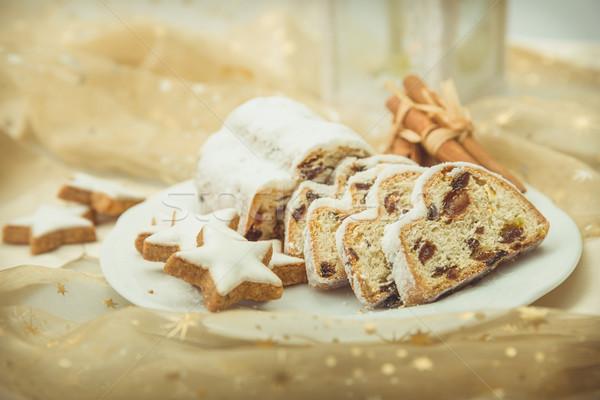 Christmas plaat kaneel sterren winter Stockfoto © Moradoheath