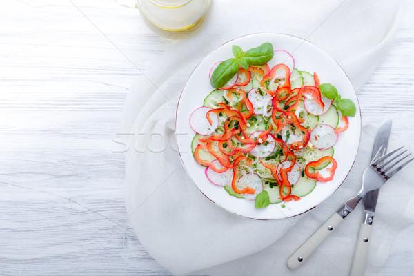 Photo stock: Fraîches · printemps · salade · concombre · radis · poivrons