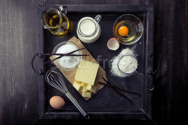 Składniki jaj mąka cukru masło Zdjęcia stock © Moradoheath