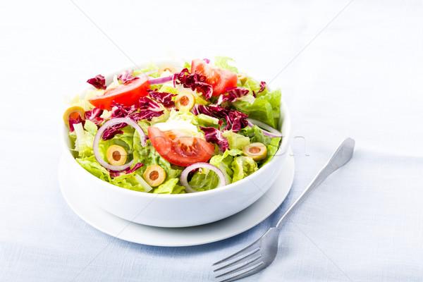Fresche insalata pomodori olive cipolle ristorante Foto d'archivio © Moradoheath