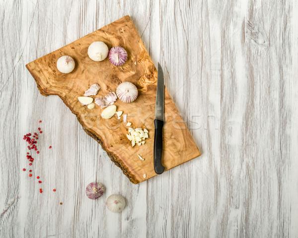 ニンニク 木材 木製 地下 食べ 白 ストックフォト © Moradoheath