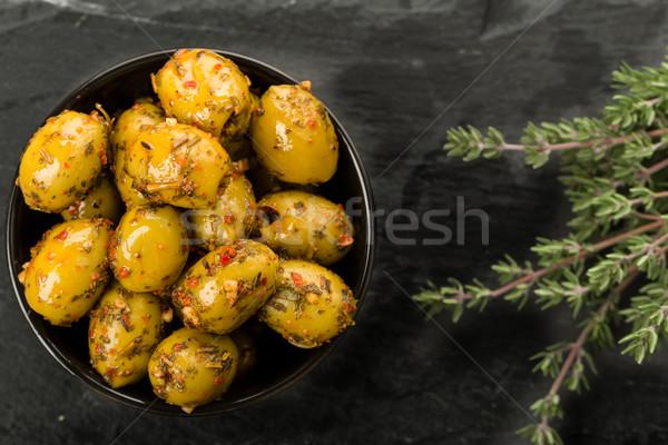 Olijven kruiden gemarineerd vers olie tomaat Stockfoto © Moradoheath