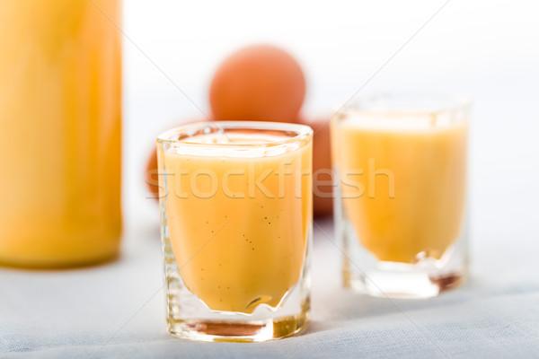 Tojás likőr szemüveg friss vanília tojások Stock fotó © Moradoheath