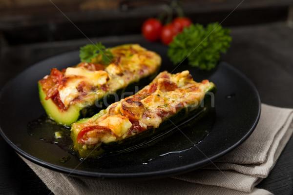 Töltött paradicsomok feta parmezán sajt zöldség Stock fotó © Moradoheath
