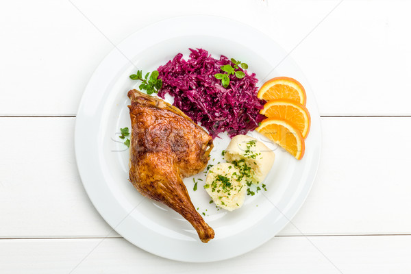 Duck with dumplings and red cabbage Stock photo © Moradoheath