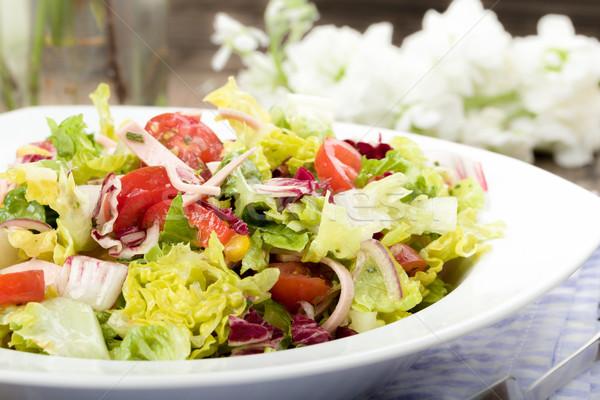 Salade gemengd vlees strips tomaat restaurant Stockfoto © Moradoheath